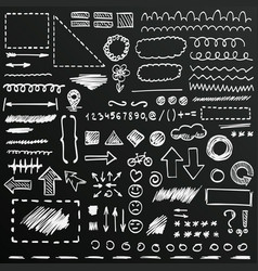 chalkboard sketch hand drawn signs set vector image
