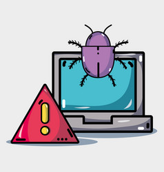 computer with virus in the system information vector image