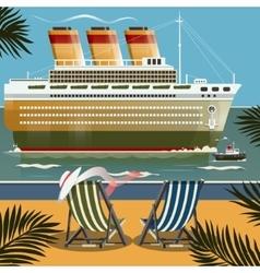 cruise ship near shore vector image