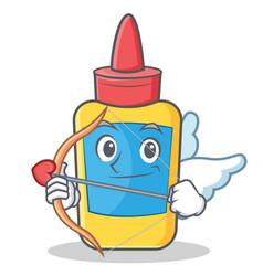 Cupid glue bottle character cartoon vector