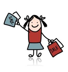 Cute girl with shoppibg bags cartoon for your vector