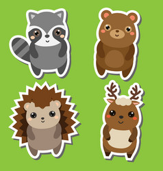 cute kawaii forrst animals stickers set vector image