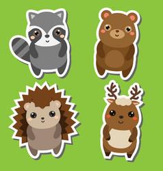 Cute kawaii forrst animals stickers set vector