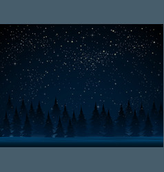 dark starry falling snow christmas trees snow vector image
