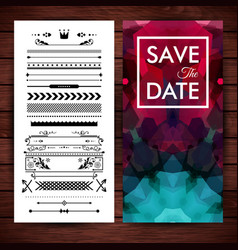 Deep purple save the date invitation template vector
