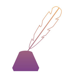 feather and ink bottle icon vector image