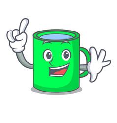 Finger mug mascot cartoon style vector