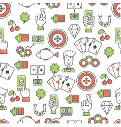 flat line art poker card game seamless vector image