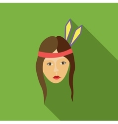 Girl american indians icon flat style vector