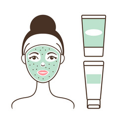 Girl s face with green mask vector