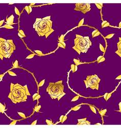 Gold-purple seamless rose sari pattern vector