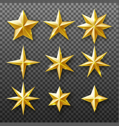 gold star set isolated on transparent background vector image