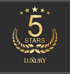 golden five stars label luxury design for hotel vector image