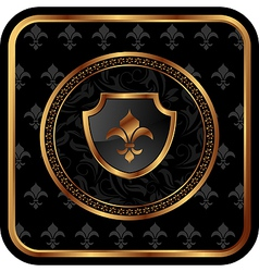 golden frame with shield vector image