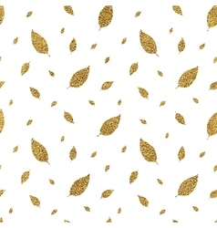 Golden seamless pattern autumn leaves vector image