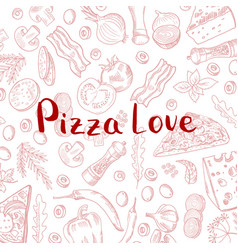 hand drawn cooking pizza elements vector image