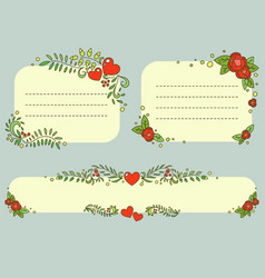 hand drawn floral romantic frames set vector image