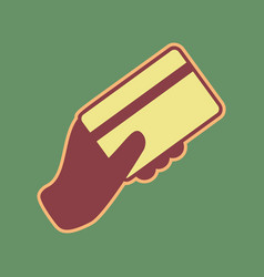 Hand holding a credit card cordovan icon vector