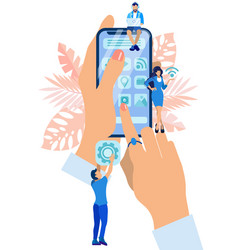 hand holding smartphone filled with icons flat vector image