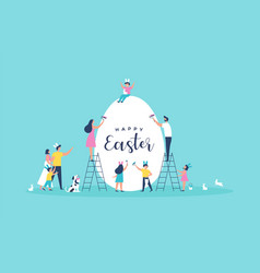 Happy easter card people painting copyspace egg vector