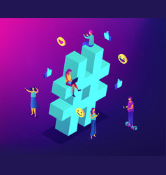 hashtag tracking isometric 3d concept vector image