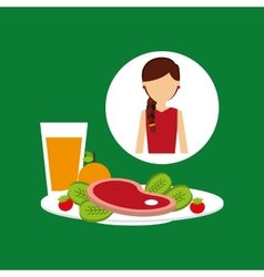 Healthy food girl with plate food vector