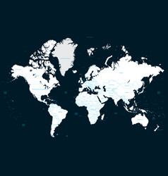 high detail political world map on a dark vector image