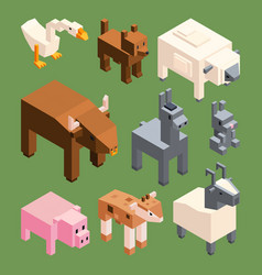 isometric animals farm stylized 3d vector image