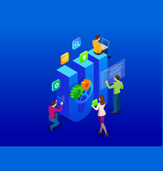 isometric web development and coding concept app vector image