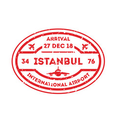 Istanbul city visa stamp on passport vector