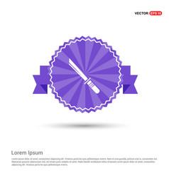 Katana sword icon - purple ribbon banner vector