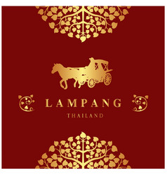 lampang thailand bodhi tree carriage red backgroun vector image