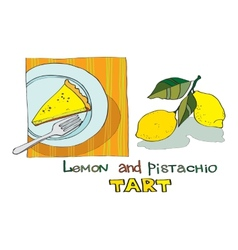 Lemon pistachio tart vector