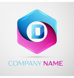 Letter D logo symbol in the colorful hexagonal on vector