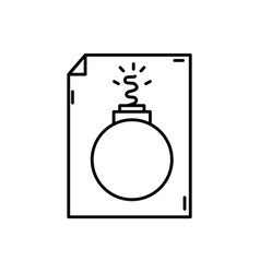 Line danger bomb weapon destruction inside paper vector