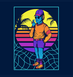Man smoke retro style 80s vector