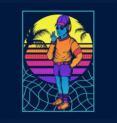 man smoke retro style 80s vector image