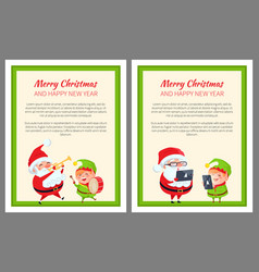 merry christmas happy new year two bright banners vector image
