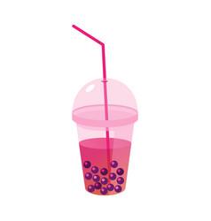 Milk tea with tapioca balls in a flat style vector