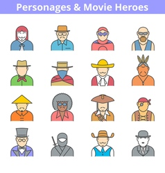 Movie heroes avatar icon set vector