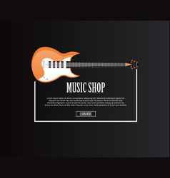 Music shop banner with orange acoustic guitar vector