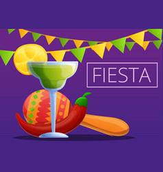 Night fiesta concept banner cartoon style vector