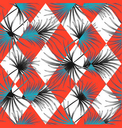 Palm leaves and harlequin rhombs seamless vector