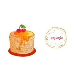 Pancake is a symbol of Russian holiday Maslenitsa vector image