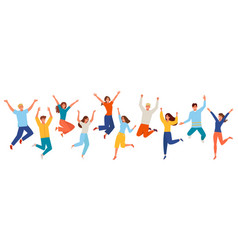 people happy jumping set young funny teens large vector image