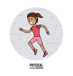 physical education - girl running sport design vector image