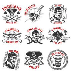 Pirate emblems onwhite background corsair skulls vector