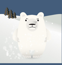 Polar bear amid snow drifts vector