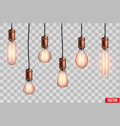 Retro edison light bulb set vector