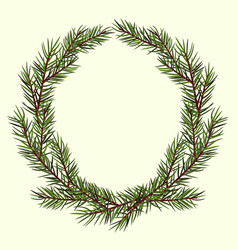 Round frame of lush green spruce branches vector